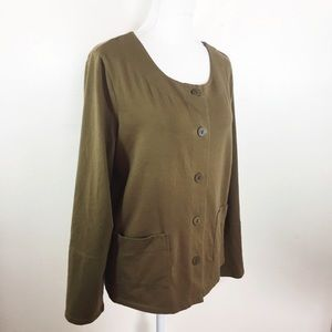 Eileen Fisher Green Cardigan Button Down Top B